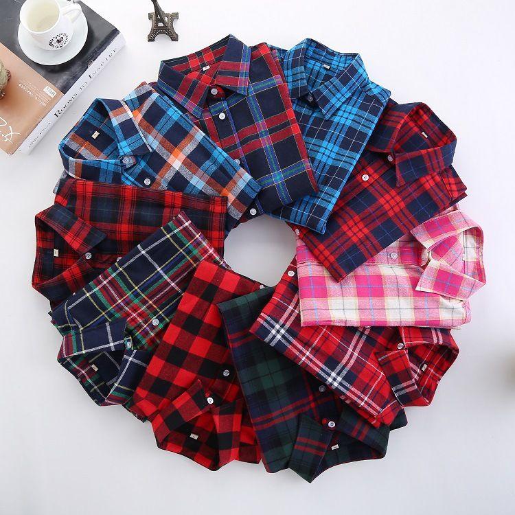 2019 automne nouvelle marque femmes Blouses à manches longues coton flanelle chemises à carreaux femmes décontracté grande taille chemise Blusas Feminina 28 couleur