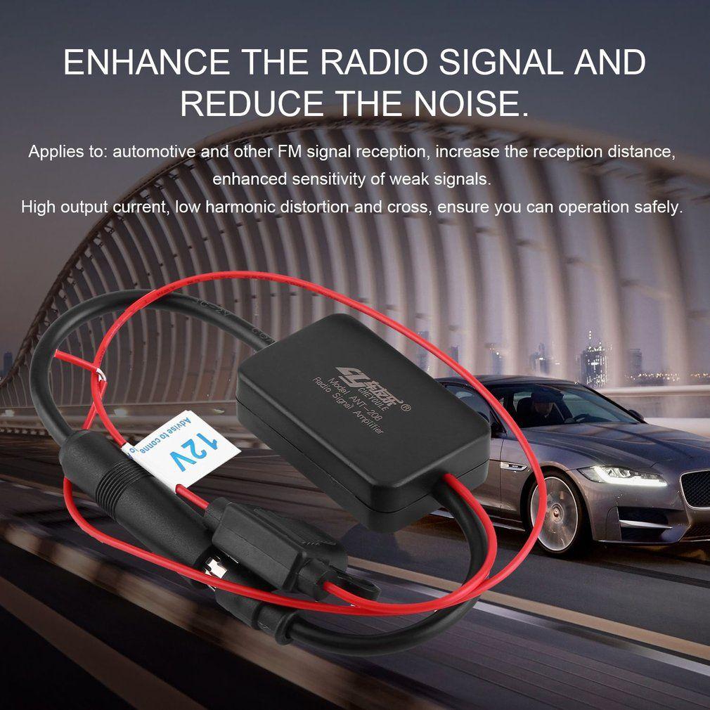New12V Auto Automobil Radio Signal Verstärker ANT-208 Auto Fahrzeuge FM Antenne Booster Für Verbesserung Signale Schwarz