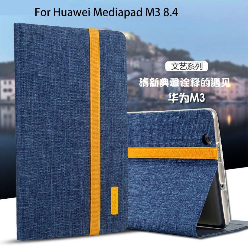 Silicium + Tissu PU Étui En Cuir Pour Huawei MediaPad M3 BTV-W09 BTV-DL09 8.4 pouce Intelligent Sommeil Housse Support Tablette coque Funda