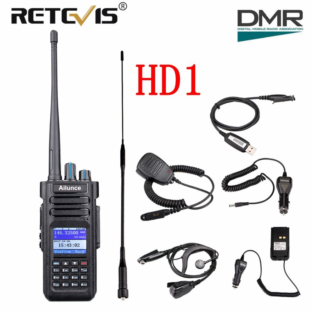 Retevis Ailunce HD1 Dual Band DMR Digital Walkie Talkie (GPS) 10W IP67 VHF UHF Ham Amateur Radio Station Transceiver+Accessories