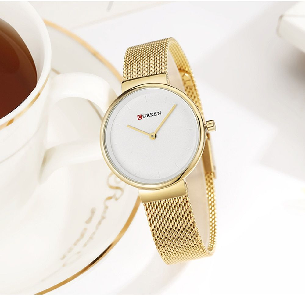 CURREN Fashion Colorful Quartz Watches for Women Simple Casual Stainless Steel Mesh Wristwatch Female Clock