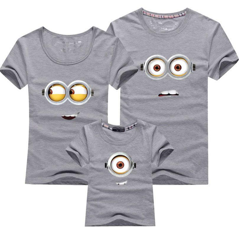 1 PCS Coton Famille Correspondant Tenues Minions T-shirts mère et enfants T-shirt Vêtements Pour La Famille Mère Et Fille Vêtements