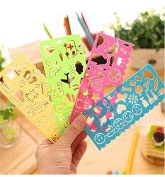 4 pcs/lot Corée Papeterie Bonbons Couleur Règle Oppssed Dessin Modèle Bureau Peinture Fournitures Multifonctionnel règle en plastique