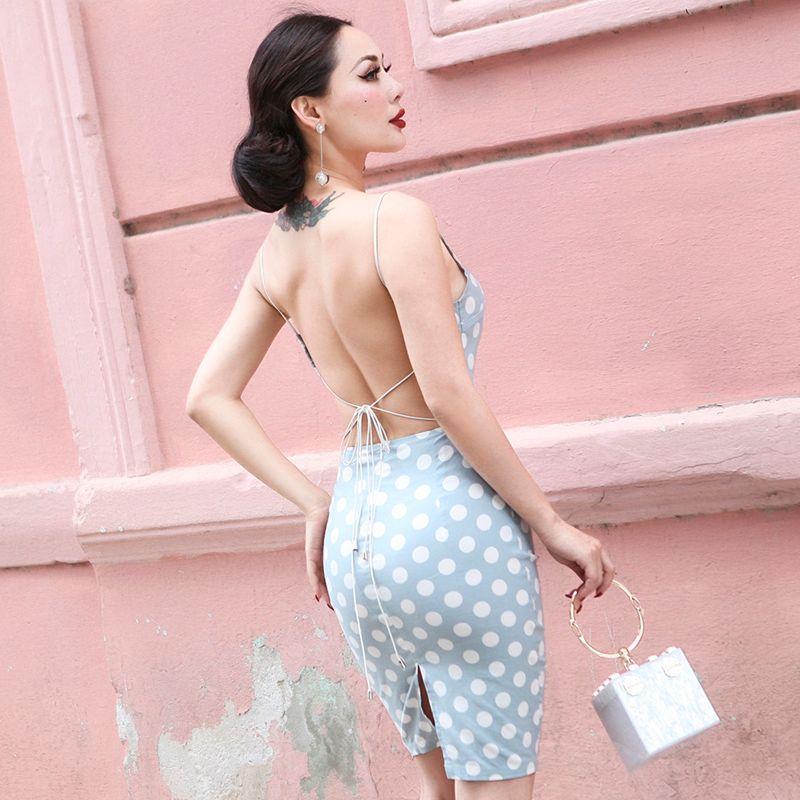 LE PALAIS VINTAGE 2018 Autumn Very Sexy Backless Pencil Dress Blue White Dot Polka Slim High Rise Adjustable Straps Dress