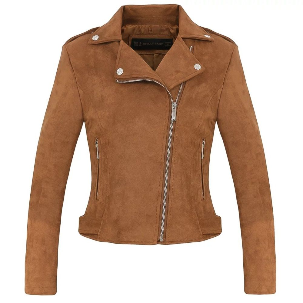 New Fashion Women suede motorcycle jacket Slim brown full lined soft faux Leather female coat veste femme cuir epaulet zipper