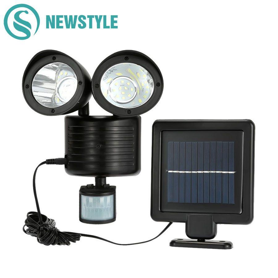 Newstyle 22 leds LED Solaire Lumière Double Tête PIR Motion Sensor Éclairage Extérieur Solaire lampe Étanche Voie D'urgence pelouse lampe