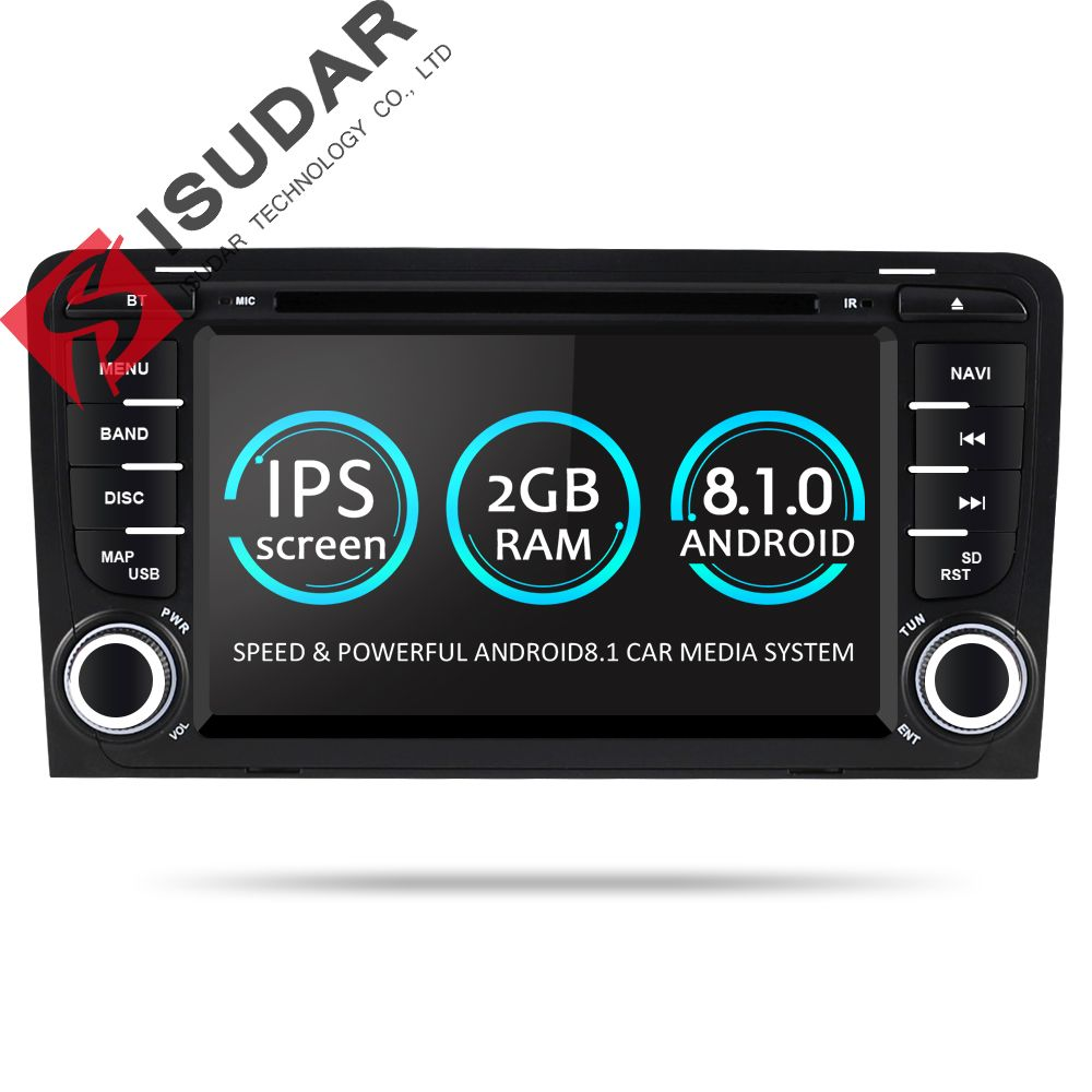Isudar 2 Din Car Multimedia Player GPS Android 8.1.0 DVD Automotivo For Audi A3 8P/A3 8P1 3-door Hatchback/S3 8P/RS3 Sportback