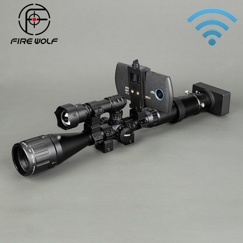 Drahtlose Nachtsicht Outdoor Umfang Optics Anblick Taktische Digitale Infrarot Mit Verbindung Telefon Taschenlampe Zielfernrohr Jagd