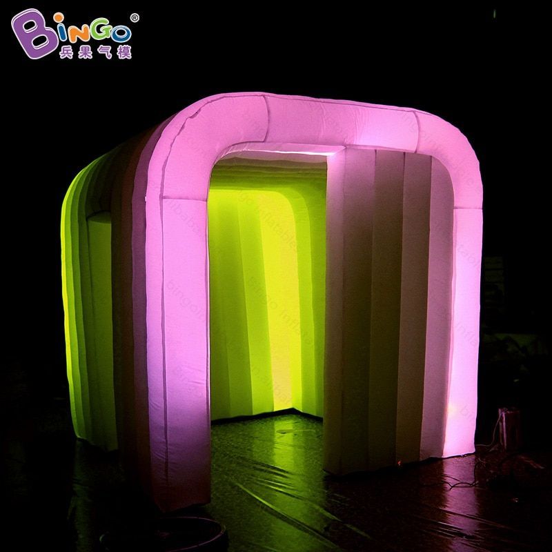 Free shipping 2.4X2.4X2.4 m LED lighting inflatable photo booth for sale durable inflatable cabine for wedding party toy tent
