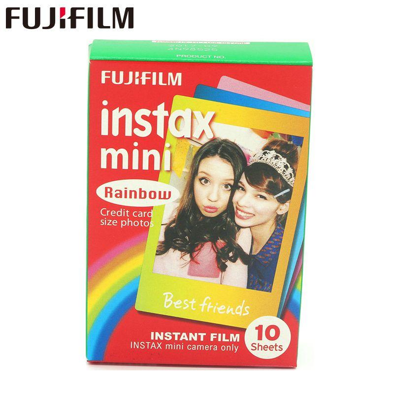 Véritable Fujifilm Instax Mini 8 Film Arc-En-Ciel Fuji Instantanée Papier Photo 10 Feuilles Pour 8 50 s 7 s 90 25 caméras