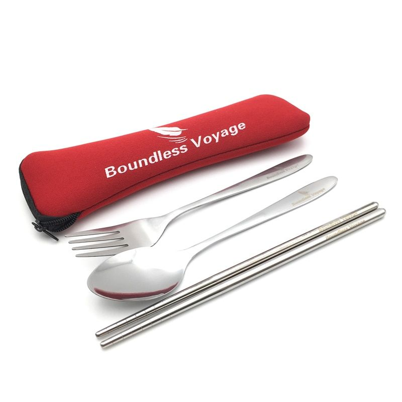 Boundless Voyage 3 Piece Stainless Steel Tableware Travel Camping Cutlery Fork Spoon Chopsticks Set with Neoprene Case BV1005