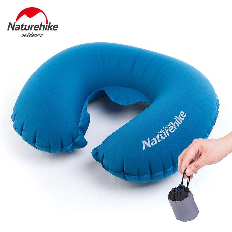 Naturehike Folding Inflatable U Shape Travel Pillow Outdoor Neck Blow Up Cushion Portable TPU Flocking Plane Air Pillows