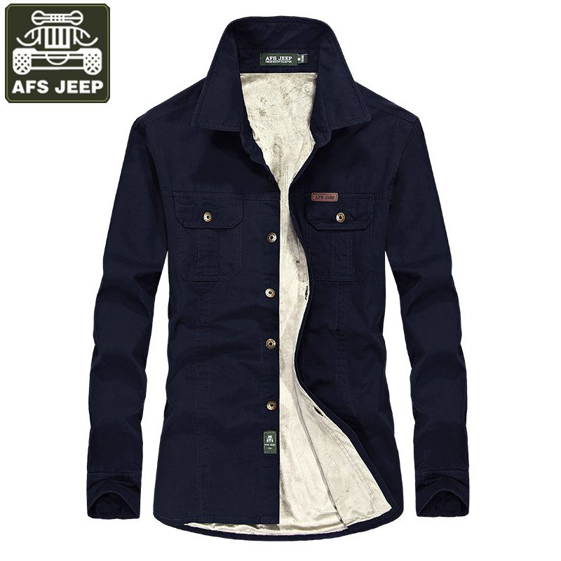 AFS JEEP Brand-clothing Shirt Men Camisa Masculina Fleece Warm Long Sleeve Shirts Casual Shirts Camisas Plus Size 6xl Homme