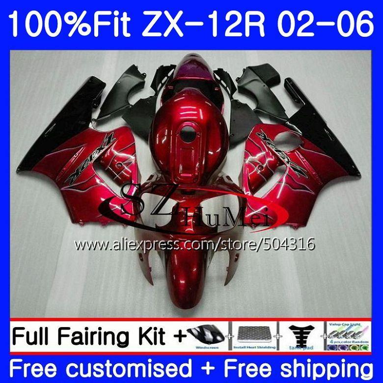 Injection Für KAWASAKI NINJA ZX-12R ZX1200 CC 24NO. 1 ZX12R 02 03 04 05 06 ZX 12R 2002 2003 2004 2005 2006 Verkleidungen Rot schwarz neue