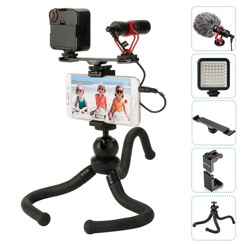 BOYA BY-MM1 Microphone With Cold Shoe Extension Video light Octopus Tripod Phone Mount For iPhone For Filmmaking Vlogging