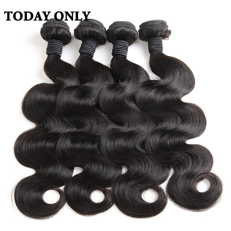 Today Only Brazilian Body Wave Bundles Human Hair Weave Bundles Natural Color Hair Can Buy 3 or 4 pcs Non Remy Hair Extensions