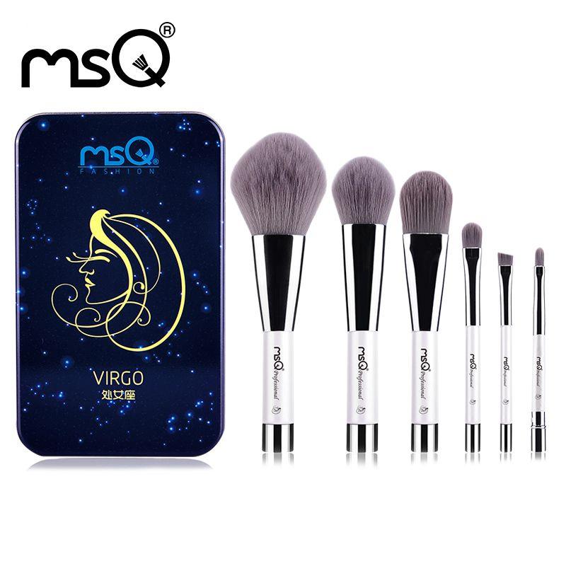 MSQ 6 pcs Maquillage Pinceaux Synthétique Cheveux Portable Make Up Brush Manche Court 12 Constellation Série Avec Magnétique Cas