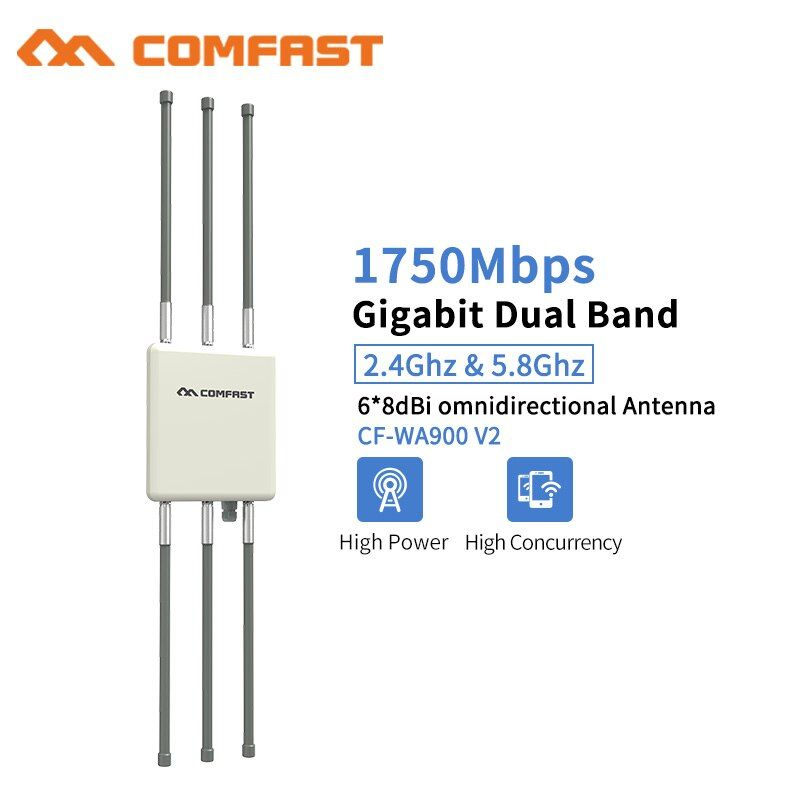 Comfast 1750 Mbps Dual Band 5 ghz High Power Outdoor AP 360 grad omnidirektionale Abdeckung Access Point Wifi Basis Station WA900V2