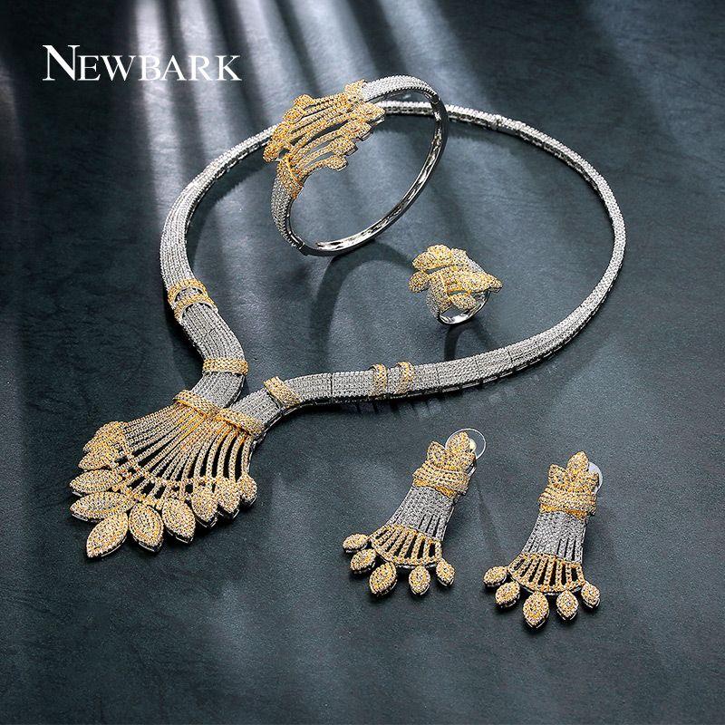 NEWBARK Plant Shape Fashion Cubic Zirconia Jewelry Set Four-piece Women Wedding Engagement Fashion Top Quality Party Accessories