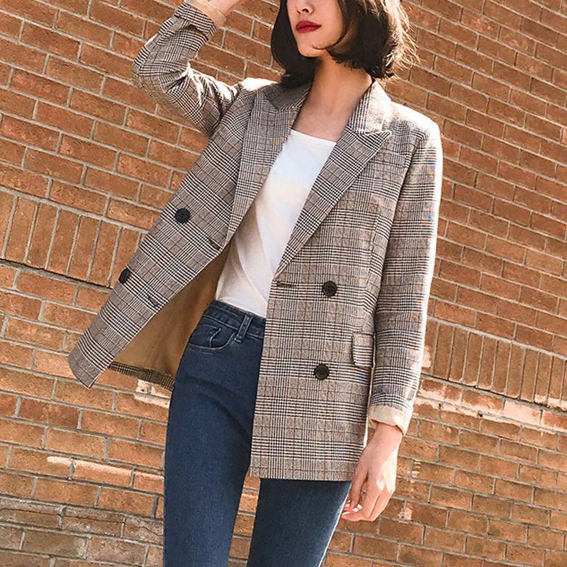 Vintage Bouble boutonnage Plaid femmes Blazer poches vestes femme rétro costumes manteau Feminino blazers survêtement de haute qualité