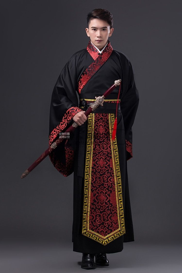 2018 Ancient Chinese Costume Men Stage Performance Outfit for Dynasty Men Hanfu Costume Satin Robe Chinese Traditional Dress Men