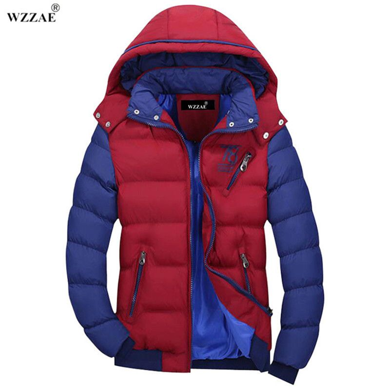 WZZAE 2018 Men's Brand Winter Warm Coat Jacket Coat Jacket Men Casual Men Hooded Cotton Jacket Free Shipping MY201