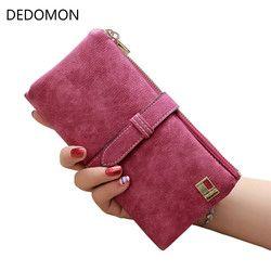 2017 sólido cordón Nubuck cuero cremallera mujeres largas cartera teléfono bolso de lujo marca diseñador carteras titular de la tarjeta monedero embrague