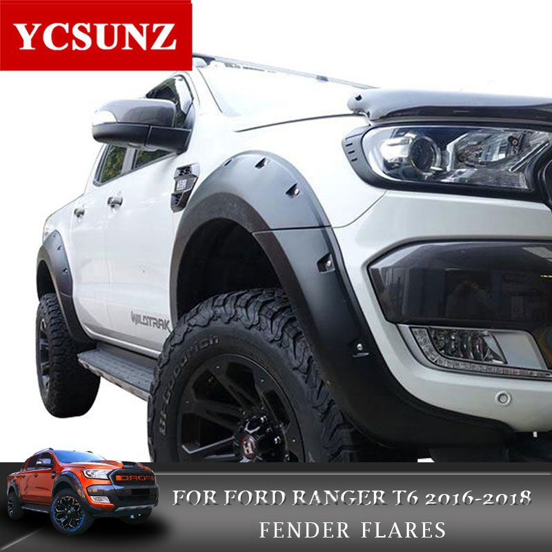 2016-2018 Pocket Rivet Style Fender Flare For Ford Ranger Wildtrak Accessories Black Mudguards For Ford Ranger T7 Part Ycsunz