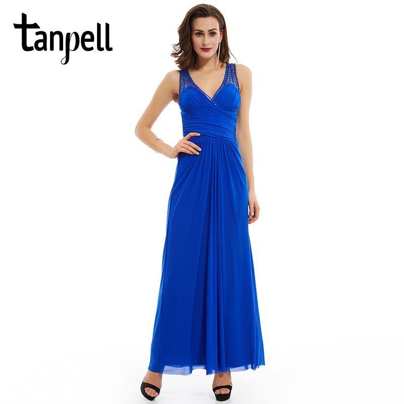 Tanpell beaded pleats evening dress sexy v neck royal blue sleeveless floor length dress cheap black long party evening dress
