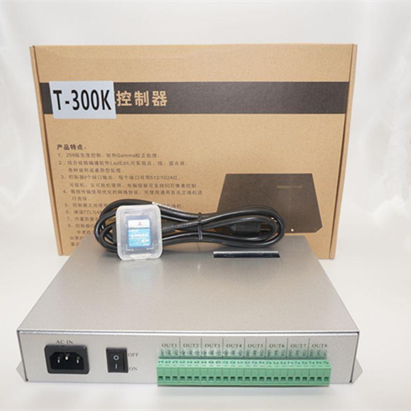 T-300K T300K SD Karte online ÜBER PC RGB vollfarb-led pixel modul controller 8 ports 8192 pixel ws2811 ws2801 ws2812b led-streifen