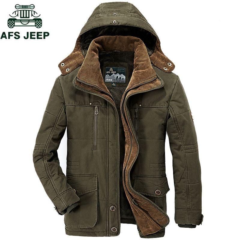 AFS JEEP Brand Thick Winter Parkas men Cotton Warm Jacket men Plus SIze 5XL 6XL 7XL Casual Multi-Pocket Parkas Hombre Invierno