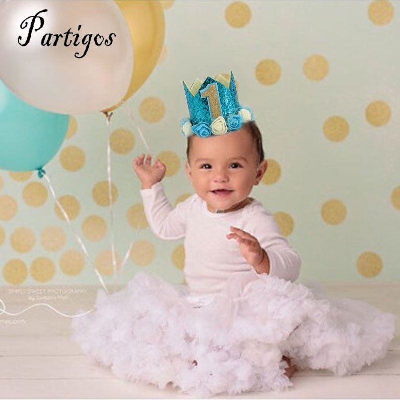 2 style boy blue and gold Party Hats with blue gold and gold Princess Crown 1st 2nd 3rd Year Old Number Baby Kids Hair Accessory