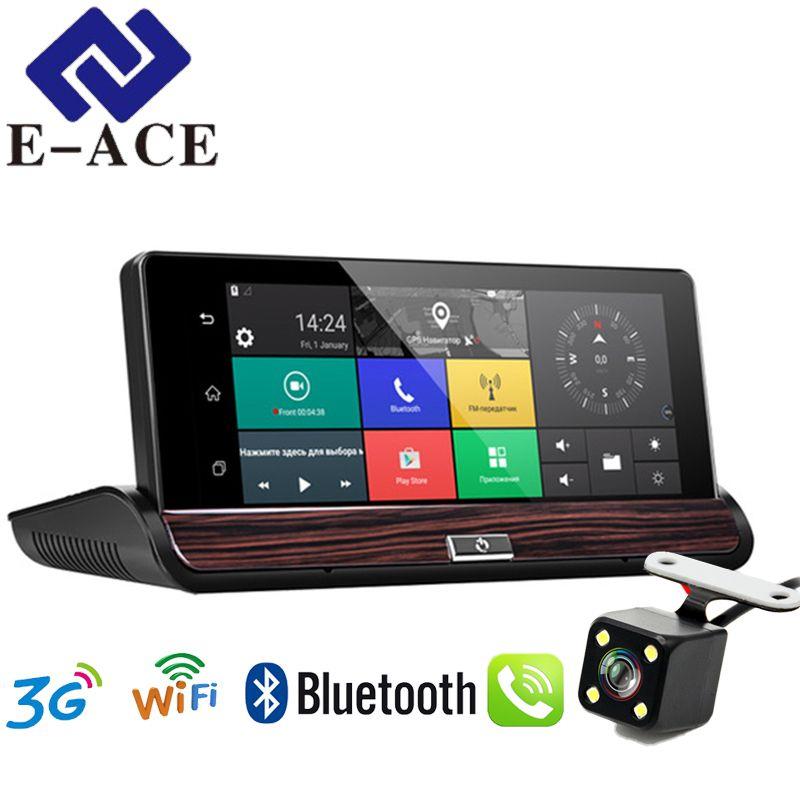 E-ACE Dashcam 3G Car Dvr GPS Navigation 16G Auto Camara Android 7.0 Inch Rearview Mirror FHD 1080P Video Recorder Wifi Bluetooth