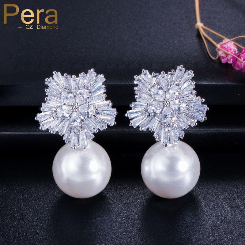 Pera Noble Design CZ marque bijoux grande eau douce simulé perle longue goutte nuptiale de mariage boucles d'oreilles pour les mariées E027