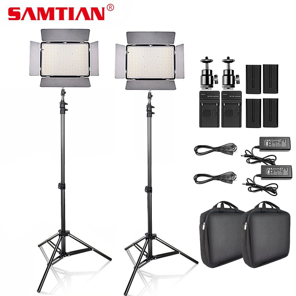 SAMTIAN 2Sets LED Video Photo Studio Light Kit Dimmable 2000Lm 3200-5600K 600pcs led Panel Lamp with Tripod for Video Shooting