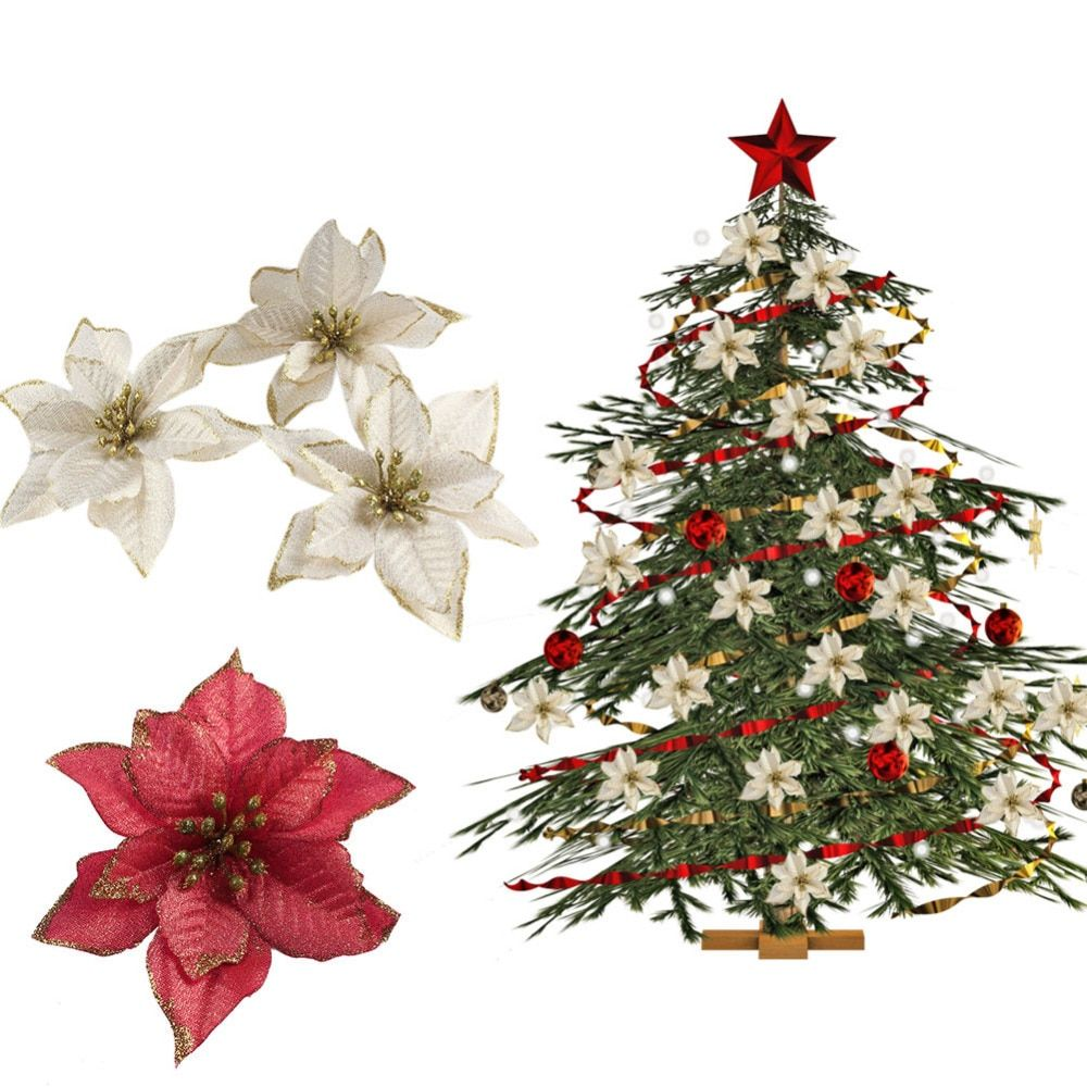 Ourwarm 20pcs Red Glitter Poinsettia Christmas Tree Ornaments Artificial Christmas Tree Decorations Event Party Supplies