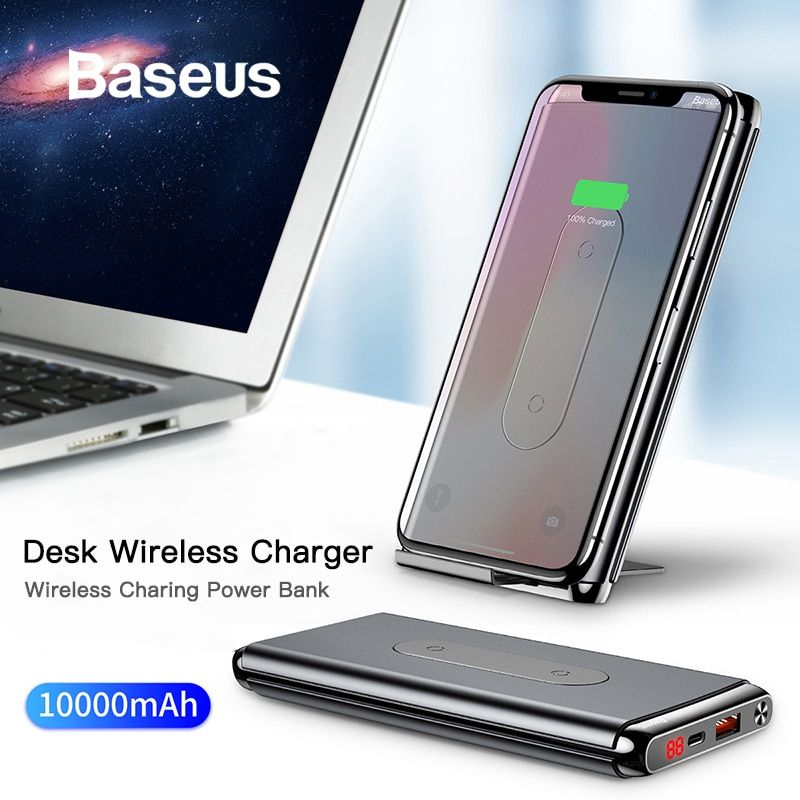 Baseus 10000mAh QI chargeur sans fil batterie externe pour iPhone Samsung PD + QC3.0 chargeur rapide USB Powerbank batterie externe