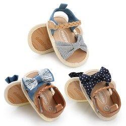 Sandalias del bebé del verano del bebé Zapatos de lona de algodón punteada arco sandalias del bebé Zapatos de bebé recién nacidos Playtoday playa