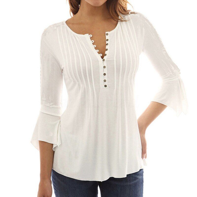 Korea Style Women Blouse Shirts 2017 Elegant Ruffles Women Tops Plus Size Flare Sleeve Solid Casual Loose Shirt blusas feminina