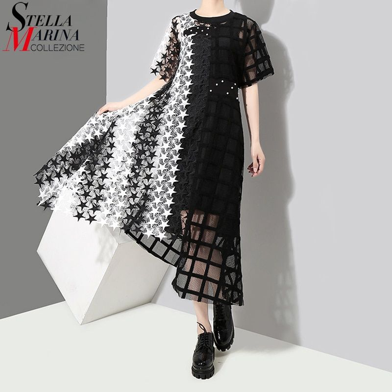 New 2018 Women Stylish Summer Black & White Long Lace Dress Female Night Party Sexy Clubwear Asymmetrical Dress Robe Femme 3517