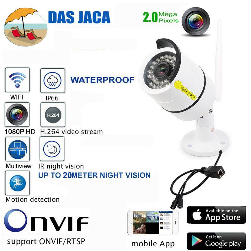 Das Jaca Bullet caméra 2.0 Mega 1080 P FHD Caméra IP Wifi Caméra de Surveillance Infrarouge de Vision Nocturne Extérieure de sécurité CCTV caméra