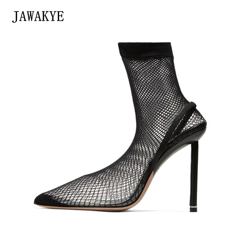 Lighter Inspired super High Heels Elastic Ankle Boots for Women summer sandals air mesh clear pvc Over The Knee sock Shoes Women