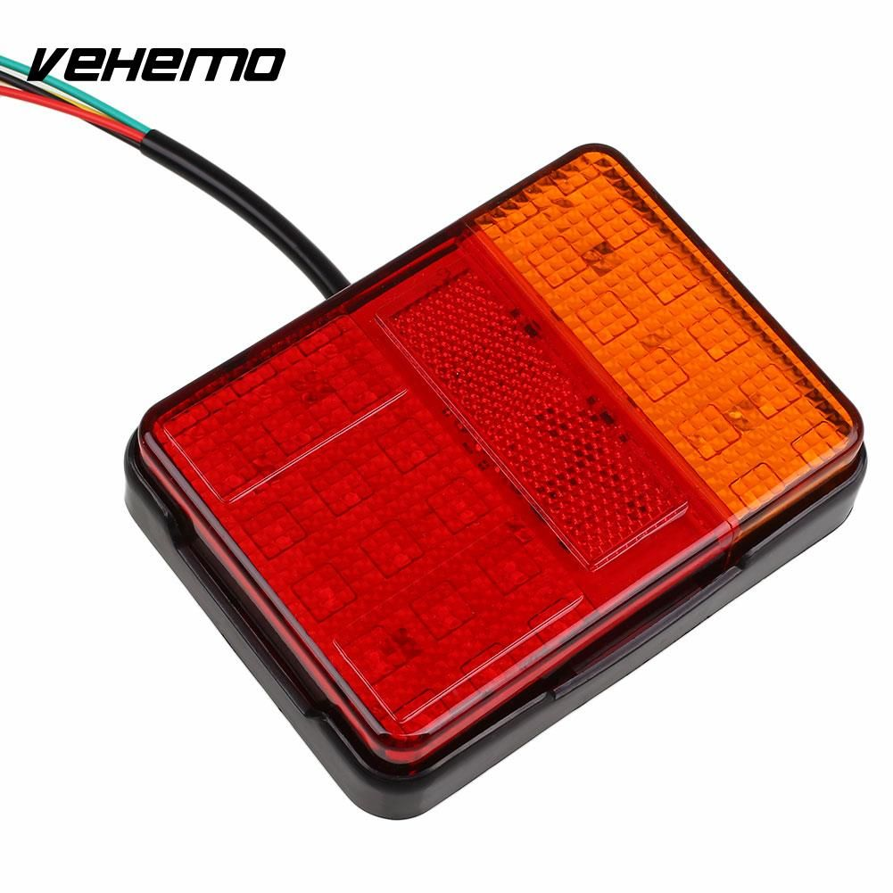 Vehemo 30 LED Trailer Rear Tail Light Indicator Lamp Caravan Lorry Van W/Bracket