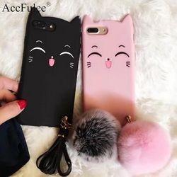 Lucu Senyum Cat Kasus Untuk iphone 5 S 6 S 7 8 Ditambah X S7edge S8 ditambah Rumbai Bulu Kelinci Bola Rambut Kasus Untuk OPPO R9S R11 Y66 A59 A77/F3
