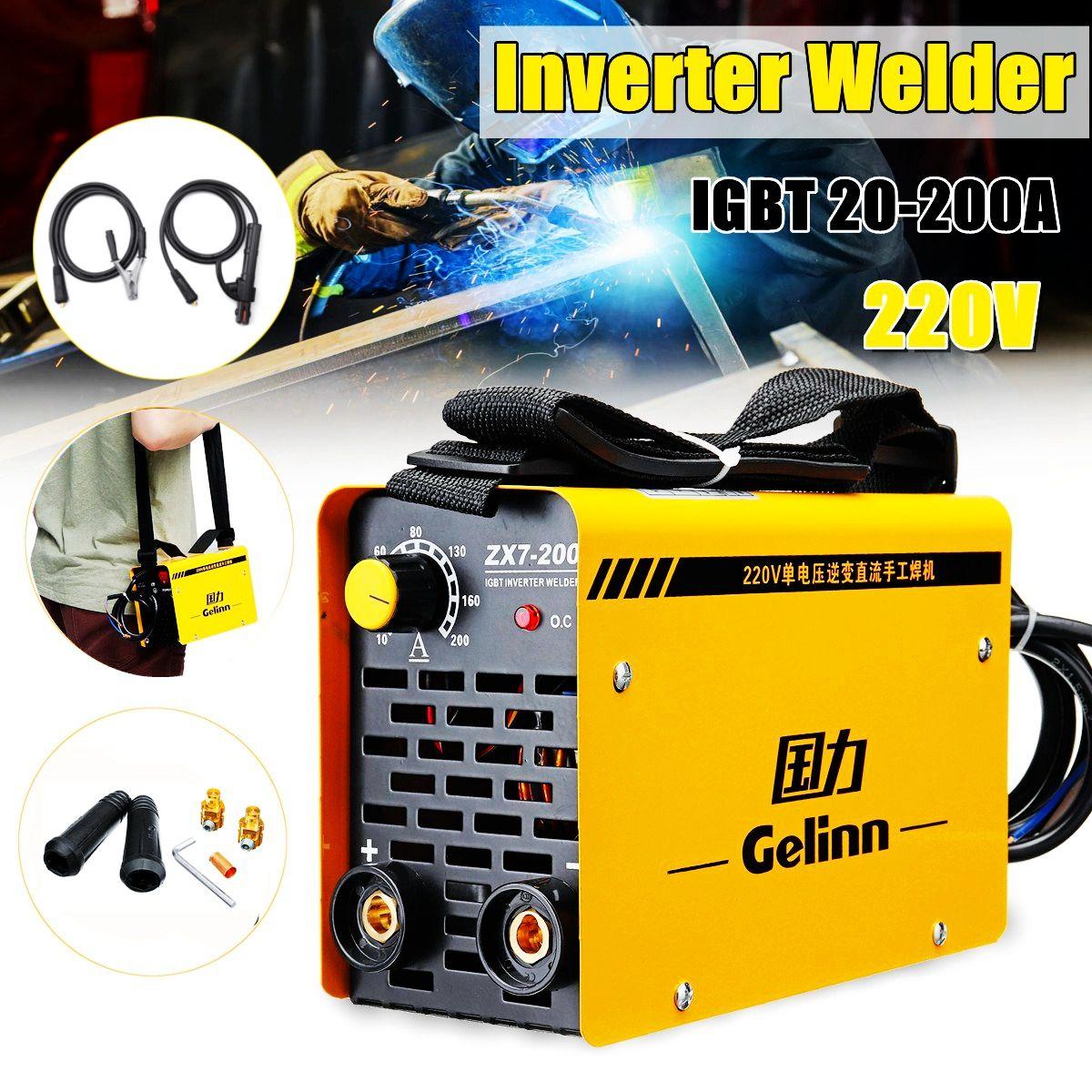 200Amp Schweißen Inverter Maschine Tragbare Schweißer MMA/ARC ZX7-200 IGBT DC Mit Maschine linie Set