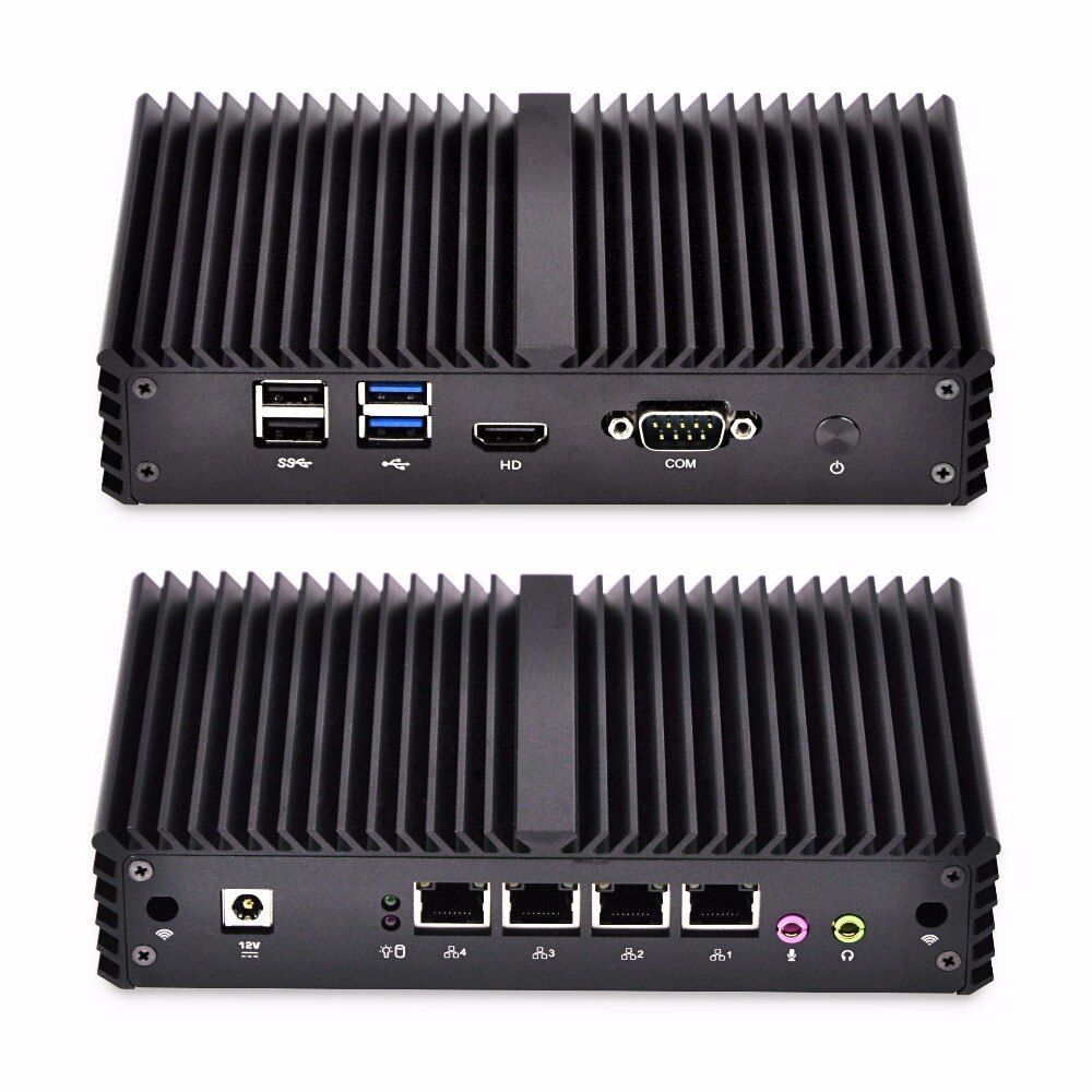 Fanless Mini PC 4 Gigabit Lan Ethernet NIC Core i3 sicherheit AES-NI Qotom Router Pfsense Firewall