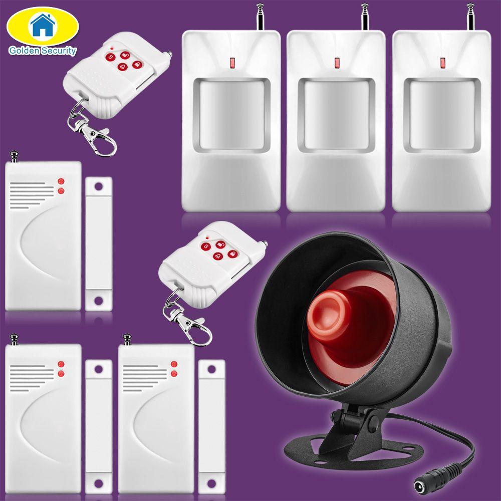 Sécurité dorée 110dB Volume réglable sirène système d'alarme porte de sécurité capteurs PIR détecteur de mouvement contrôleur pour alarme domestique
