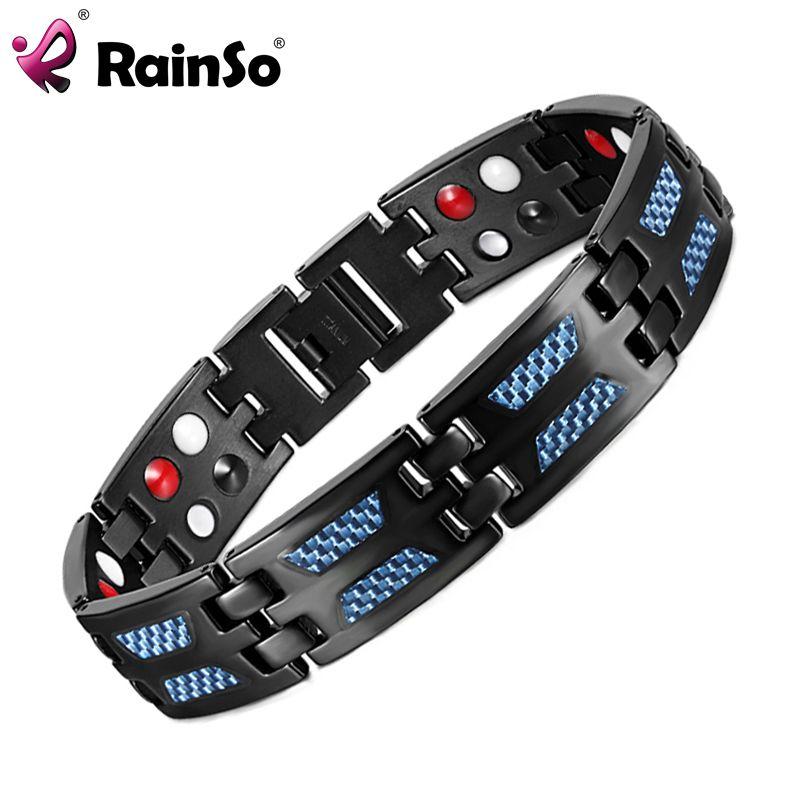 RainSo Titane Santé Magnétique Bracelet Bleu Couleur 4 Éléments Haute Qualité De Luxe Bracelets et Bracelets Cadeau pour Homme Femme