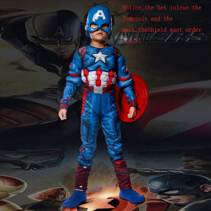 Super héros enfants Muscle Captain America Costume Avengers enfant Cosplay Super héros Halloween Costumes pour enfants garçons filles S-XL