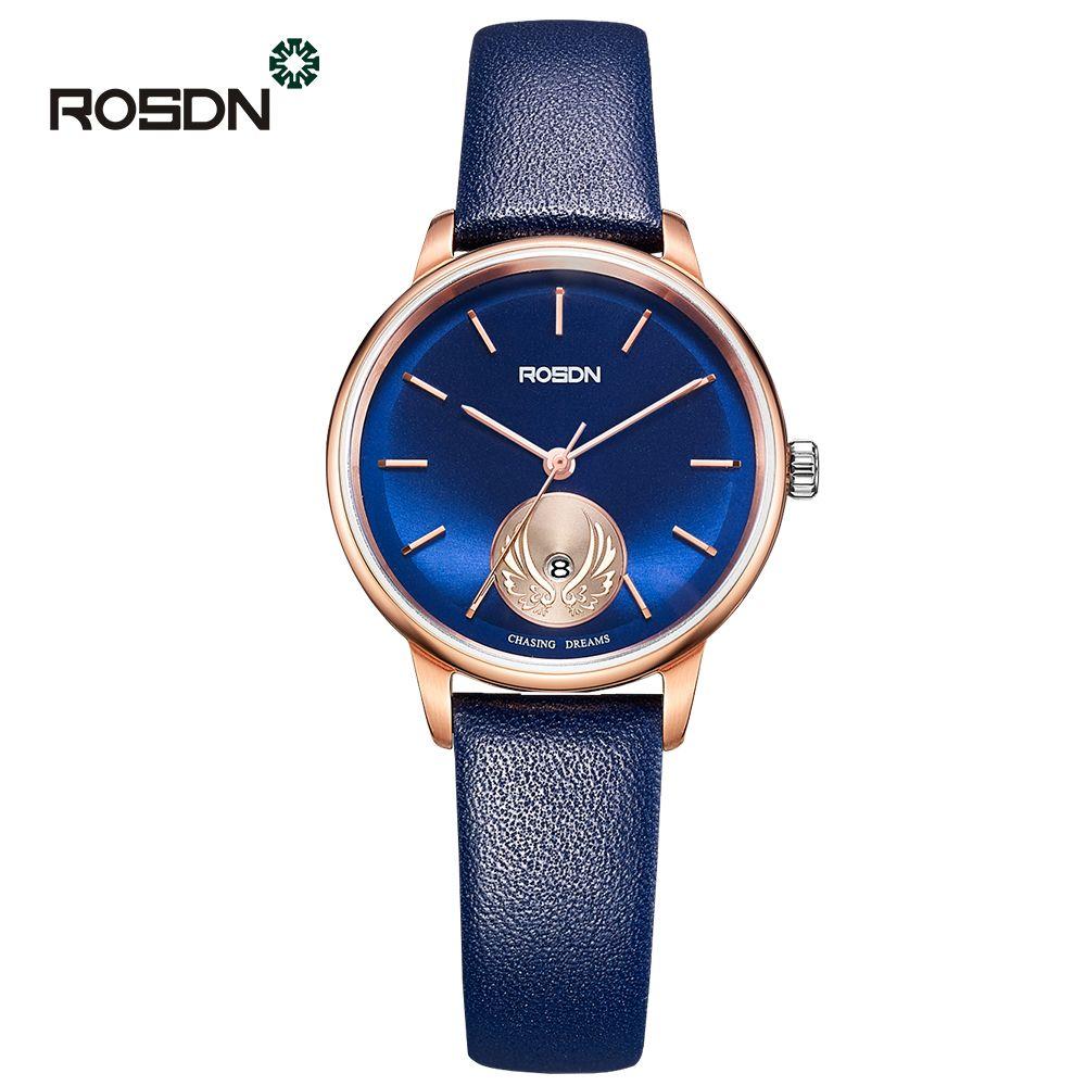 ROSDN Ultra Slim Leather Wrist Watch Woman Quartz Watches Brand Luxury Ladies girls Wristwatch relogio feminino Reloj Mujer